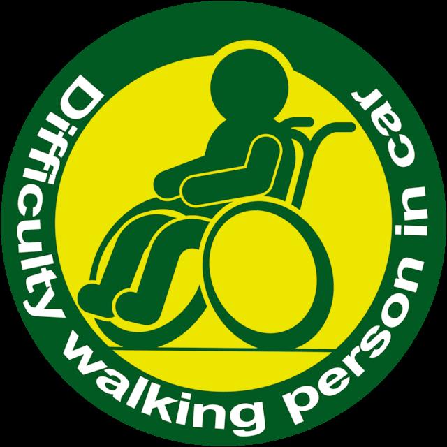 Difficulty walking parson in car ステッカー(深緑×黄)