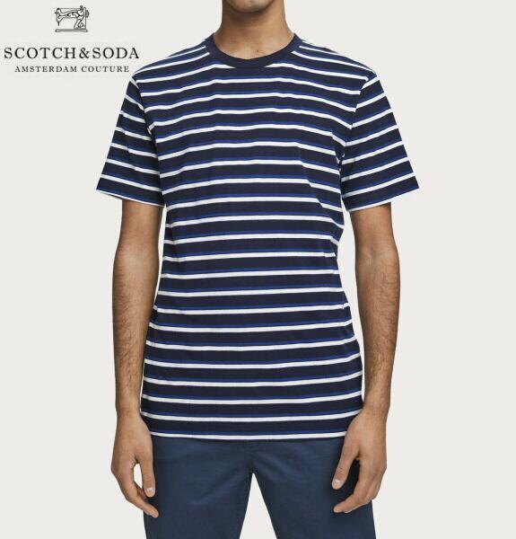 スコッチ&ソーダ SCOTCH&SODA 半袖 Tシャツ クルーネック ボーダー Tシャツ ネイビー×ブルー 292-14408