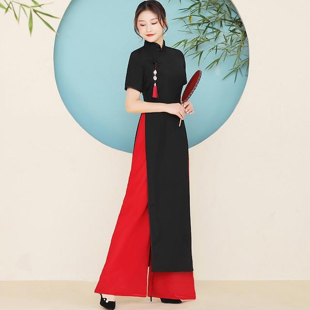 アオザイ+ズボン セットアップ 民族風 花嫁 S~5L 大きいサイズ 着痩せ 黒+赤 ロング丈ワンピース