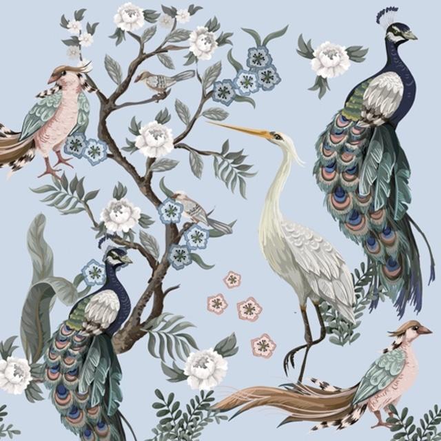 2021秋冬【Daisy】バラ売り2枚 ランチサイズ ペーパーナプキン Peacocks and Heron in Garden ブルー