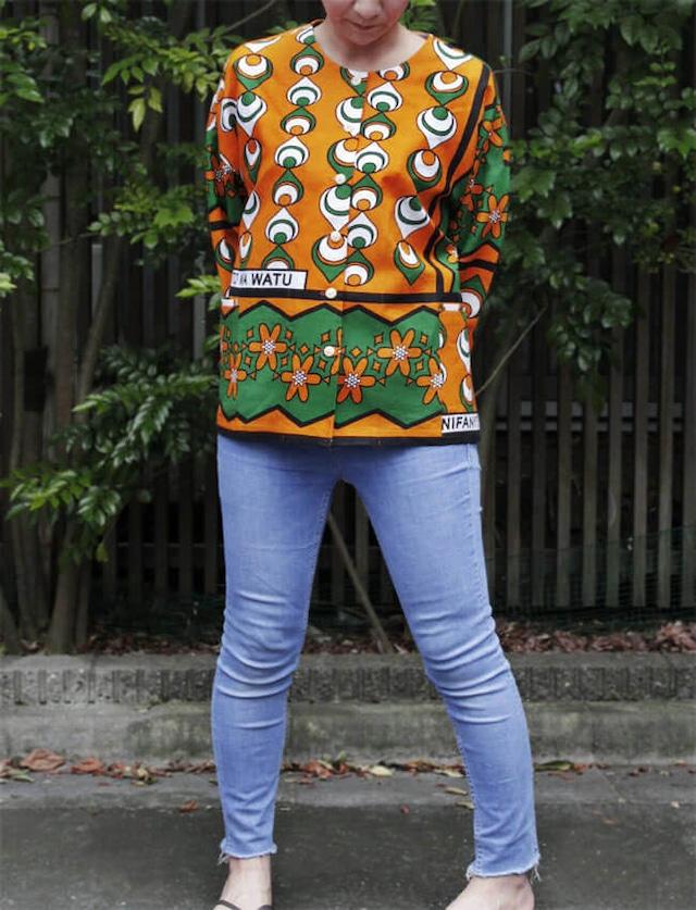 カンガのダーツブラウス|アフリカ布 服 / カンガ服