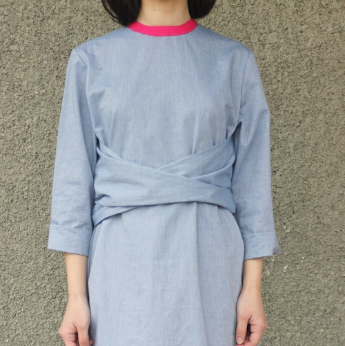 Trim neck cotton dress