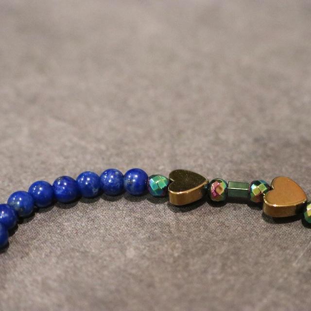 【COSMIC BLUE】ラピスラズリ×ヘマタイト  〈ハーフ〉ブレスレット