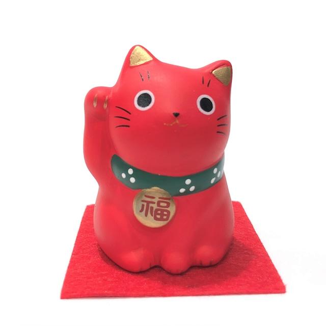 錦彩福おいで招き猫 赤猫 無病息災