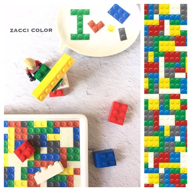 ブロックパターン マルチカラー《オーブン焼成》【ZACCI COLOR】