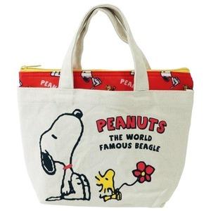 【PEANUTS】スヌーピー 保冷ポーチ付き帆布ミニトートバッグ(レッド)