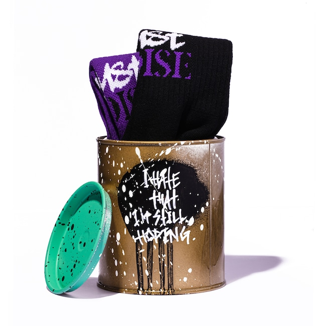 LOGO SOCKS + PAINTED CAN SET - GOLD