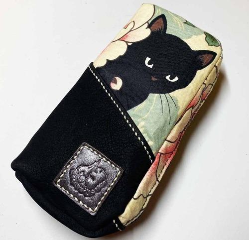 黒猫と革のL字ファスナーポーチ [224-pt]