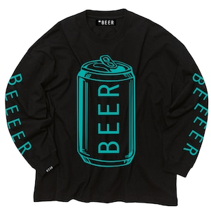 BEER缶ロゴ ロングスリーブT 黒