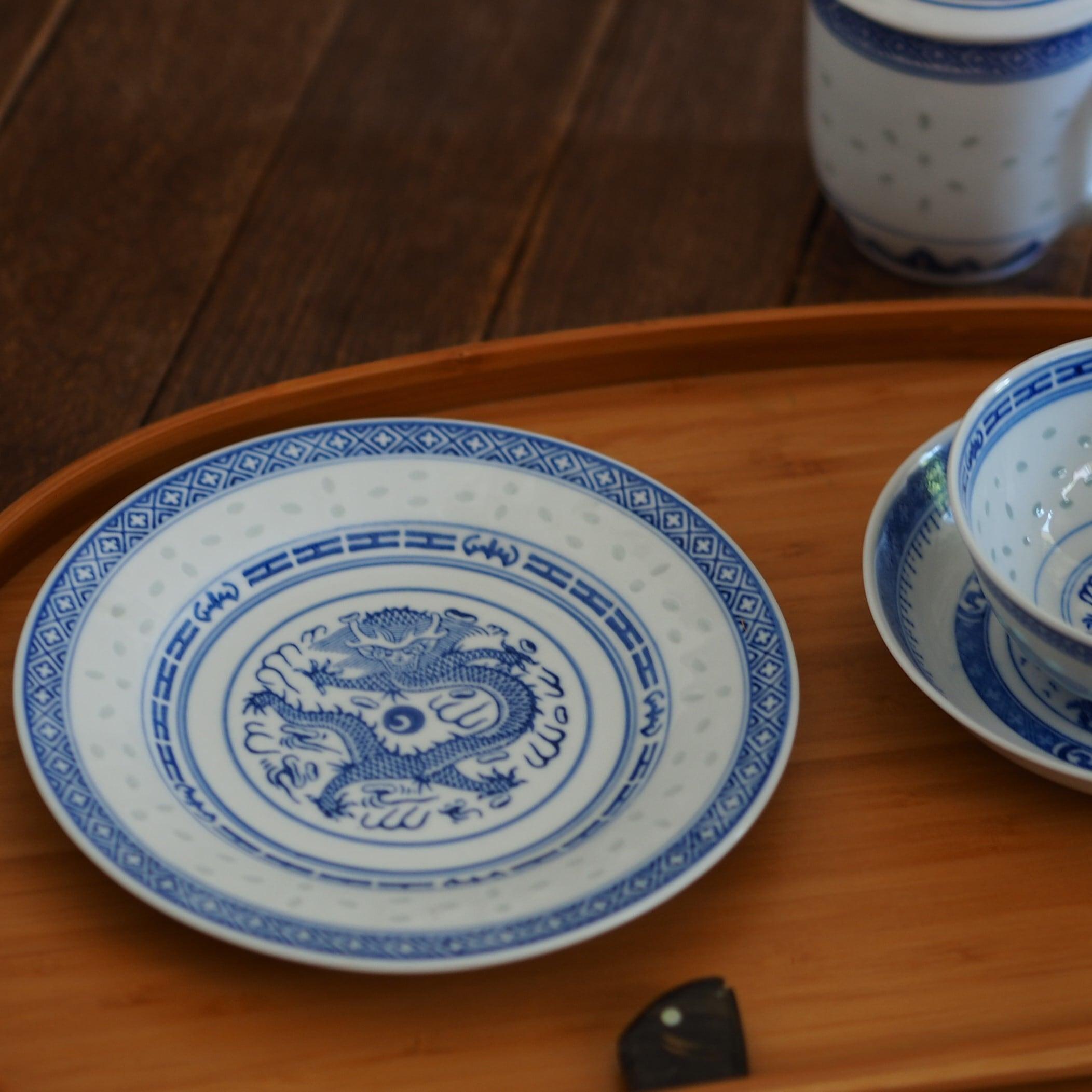 『ドラゴンの丸皿18センチ/Blue&White』景徳鎮/ホタル