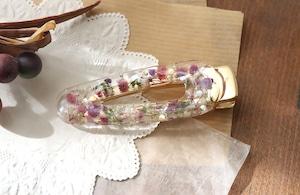ドライフラワーとビジューを使った花の髪飾り / ヘアピン・クリップ(ピンク)