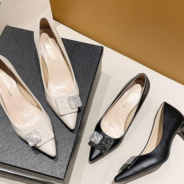 レディースハイヒール ポインテッドトゥ ハイヒール 高さ6cm ホワイト ブラック 黒 大きいサイズ レディース靴 春夏秋