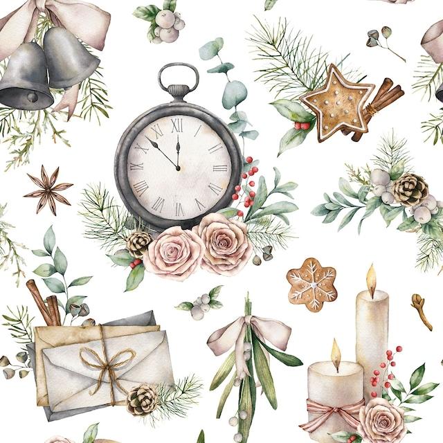 2021秋冬【Nouveau】バラ売り2枚 ランチサイズ ペーパーナプキン Time for Christmas ホワイト
