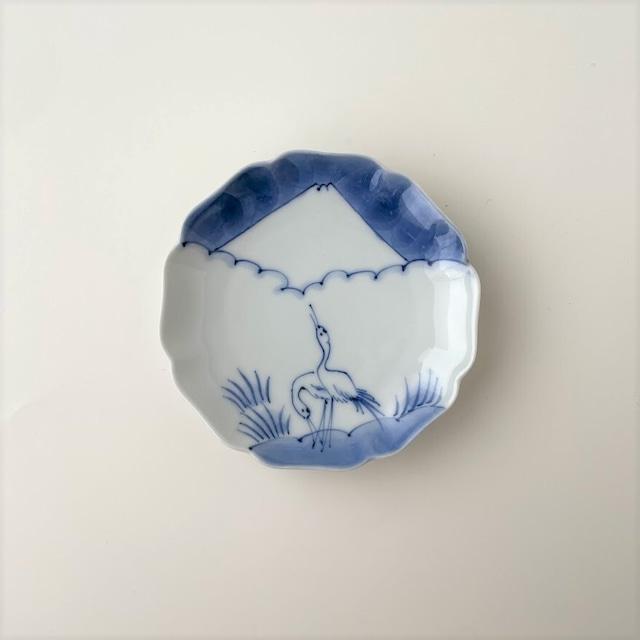 【おてしょ皿】鶴に富士山図 輪花皿