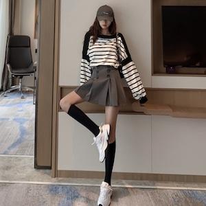 【セット】「単品注文」長袖カジュアルラウンドネックプルオーバーパーカー+スカート43008016
