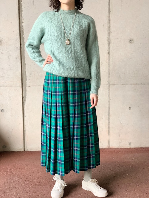 Vintage Pendleton Pleated Green Plaid Skirt Made In USA