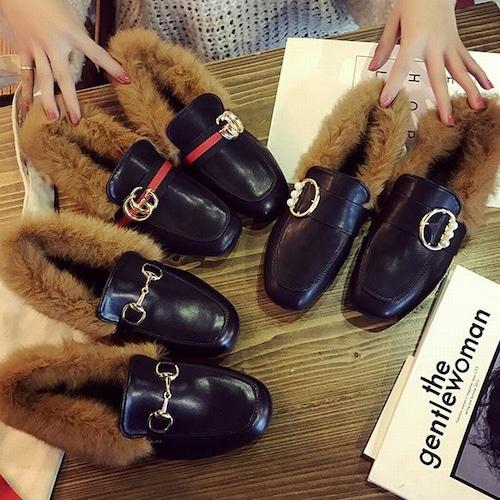 ファー付きローファー 韓国ファッション ローヒール ラウンドトゥ ビット レディース ぺたんこ 歩きやすい 履きやすい 痛くない 秋 冬 DTC-560180858916