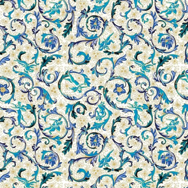 【Paperproducts Design】バラ売り2枚 ランチサイズ ペーパーナプキン FIORENTINA ブルー