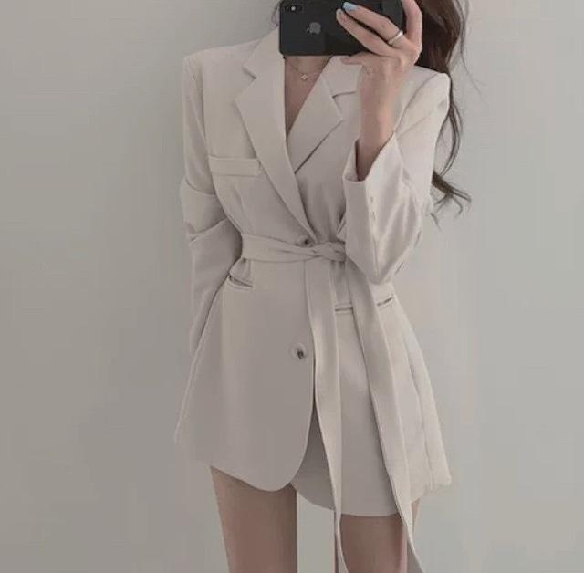 ribbon belt jacket 4color