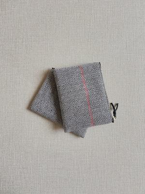 手織りミニポーチライン#4(HAND WOVEN POUCH 14cm RED LINE )