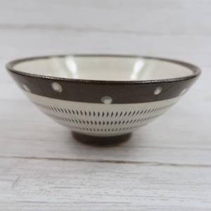 小石原焼 飯椀(大) トビカンナ フチ茶 白のドットお茶碗 上鶴窯