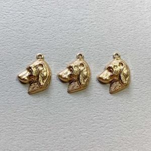 USA真鍮 垂れ耳犬の横顔チャーム