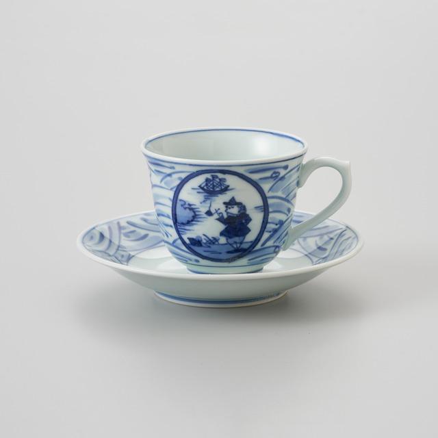 """【青花】""""長崎紋"""" 百合型コーヒー碗皿"""