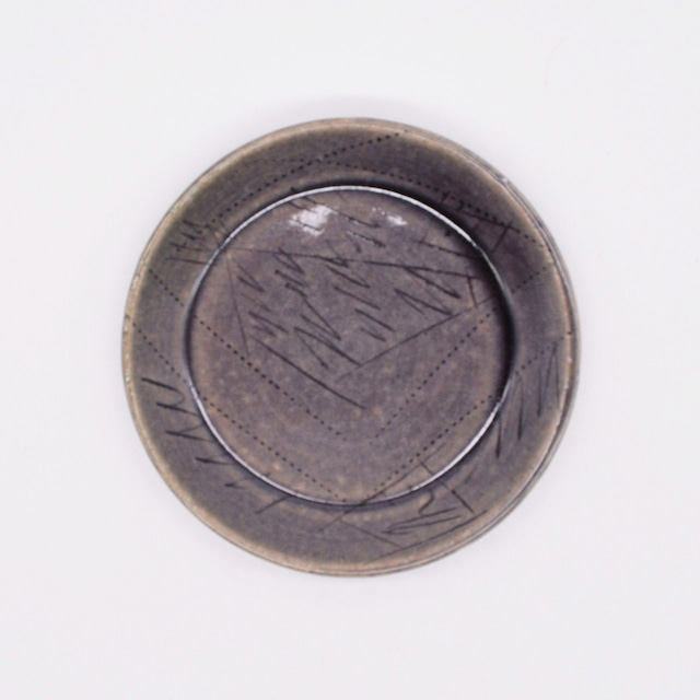 【限定1点 アウトレット品】美濃焼 梅紫線刻 小皿 253639 豆豆市110