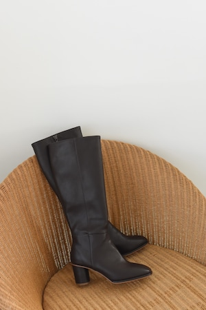 square toe long boots(brown)