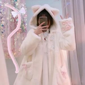 【即納】ねこねこ 肉球 ふわもこ コート 2色