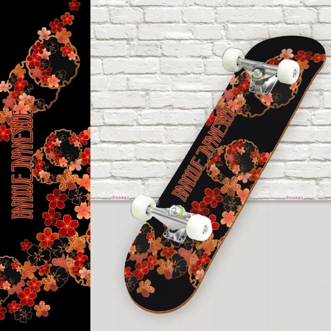 桜家紋蝶家紋雪割 スケートボード裏面保護シート