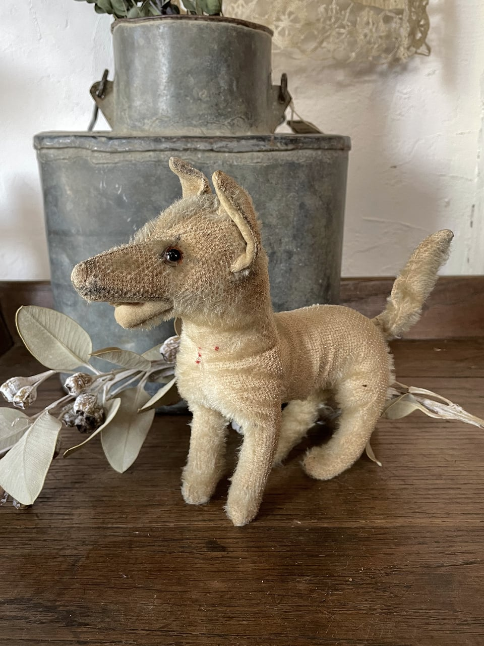 フランスアンティーク 犬 ぬいぐるみ ベージュ dog