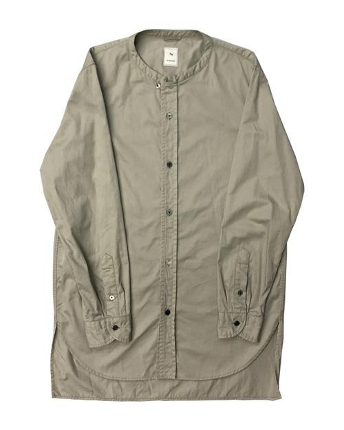 SQ HEM BAND COLLAR SHIRT / 綿ツイルバンドカラーシャツ  (BEG)
