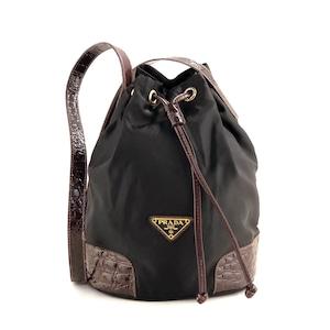 PRADA プラダ ナイロン ショルダーバッグ 巾着 クロコ型押し ロゴ ブラック×ブラウン  vintage ヴィンテージ オールド yjhpe2