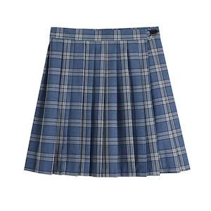 プリーツスカート 大きいサイズ 制服スカート 女子スクールスカート チェック柄 ブルー 女子高生 JKスカート ミニスカート 2969