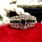 アメリカ1930'S ヴィンテージ リング18金ブルーサファイア ダイヤモンド リング❤︎