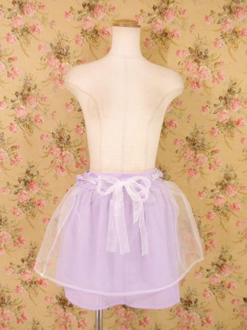 ゆめかわいい編み上げのシフォンフリルスカート