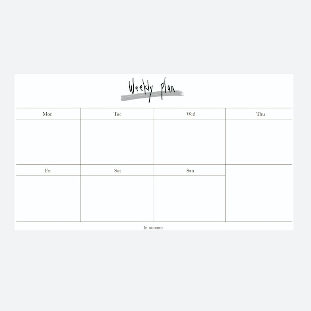 [in autumn] Weekly plan paper