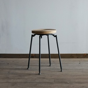 #02-10  Iron Wooden Stool