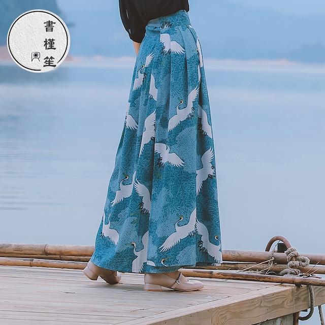 【書槿笙シリーズ】★チャイナ風スカート★ 巻きスカート ロング丈 鶴 和風 可愛い 合わせやすい S M L