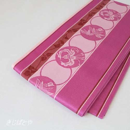 正絹博多半幅帯 丸紋 牡丹