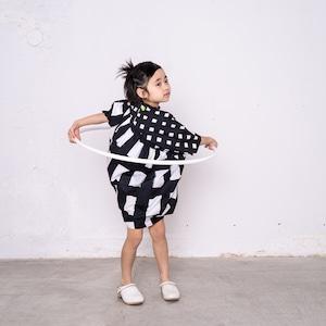 ORIG. CHECK MIX SLANT GATHER DRESS / LL