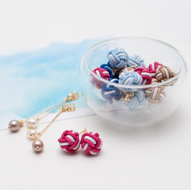 淡路玉と淡水真珠のバックキャッチピアス