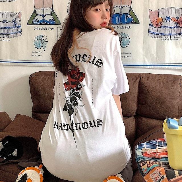 【トップス】韓国系半袖無地カジュアルバラ図柄ファションTシャツ47245327