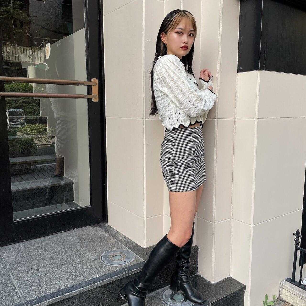 【Belle】gingham check mini skirt