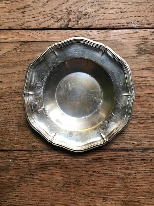 スウェーデン ビンテージ 花リム皿 シルバートレー(S)