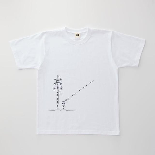 鉄道Tシャツ|踏切 ( White × Dark Gray )