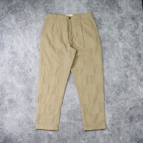 """【Universal Works.】 PLEATED PANT  """"TAN""""  Patchwork Fine Twill  ユニバーサルワークス"""