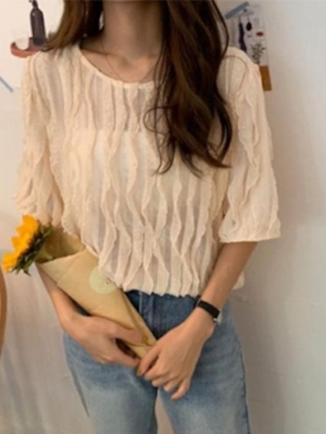 シンプル 半袖 プリーツ シャツ ゆったり★2色