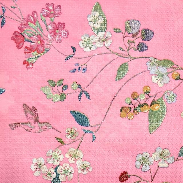 【PIP STUDIO】バラ売り1枚 ランチサイズ ペーパーナプキン HUMMINGBIRDS ピンク